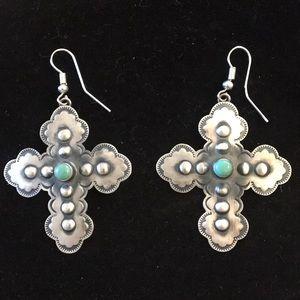 Jewelry - Southwest silver cross earrings